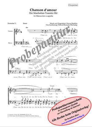 Chornoten: Chanson d amour für Männerchor