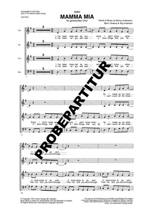 Chornoten: Mamma Mia (vierstimmig)