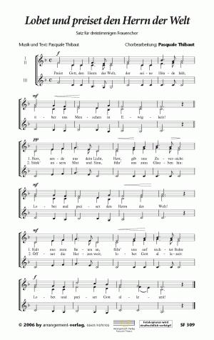 Chornoten Lobet und preiset den Herrn der Welt