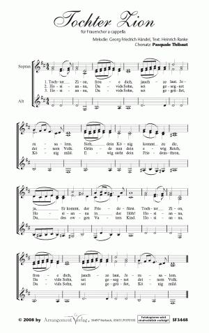 Chornoten: Tochter Zion, freue dich für Frauenchor