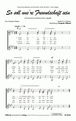 Chornoten: So soll unsre Freundschaft sein für Frauenchor