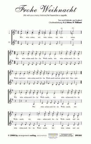 Chornoten Wir wünschen euch frohe Weihnacht