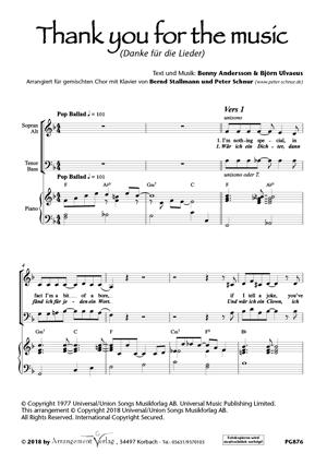 Chornoten: Danke für die Lieder/Thank you for the music (dreistimmig)
