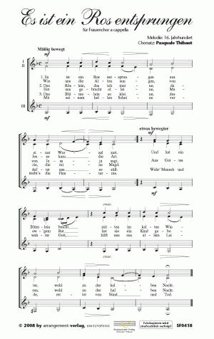 Chornoten: Es ist ein Ros entsprungen für Frauenchor