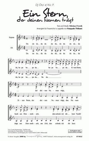 Chornoten: Ein Stern, der deinen Namen trägt für Frauenchor