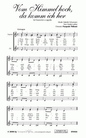 Chornoten: Vom Himmel hoch, da komm ich her für Frauenchor