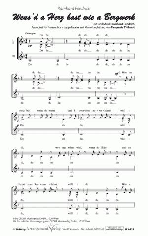 Chornoten: Weusd a Herz hast wie a Bergwerk für Frauenchor