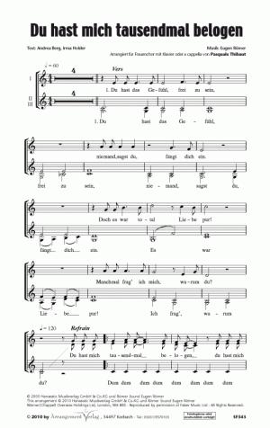 Chornoten: Du hast mich tausendmal belogen für Frauenchor