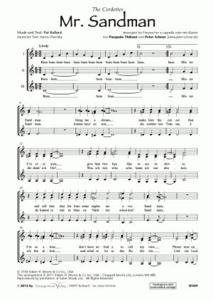 Chornoten: Mr. Sandman (Sandmann, komm heut zu mir) für Frauenchor