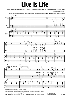 Chornoten: Live is Life für Frauenchor
