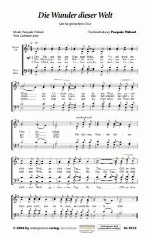 Chornoten: Die Wunder dieser Welt (vierstimmig)