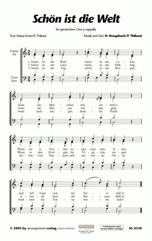 Chornoten: Schön ist die Welt (vierstimmig)