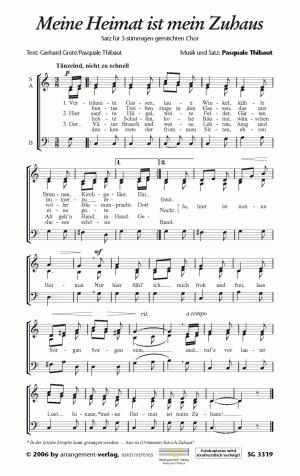 Chornoten: Meine Heimat ist mein Zuhaus (dreistimmig)
