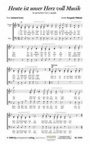 Heute ist unser Herz voll Musik für gemischten Chor