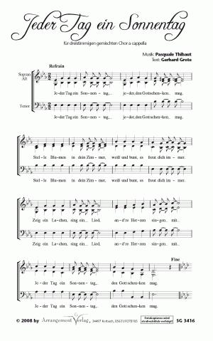 Chornoten: Jeder Tag ein Sonnentag (dreistimmig)