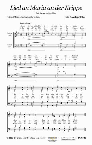 Chornoten: Lied an Maria an der Krippe für gemischten Chor
