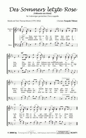 Chornoten: Des Sommers letzte Rose für gemischten Chor