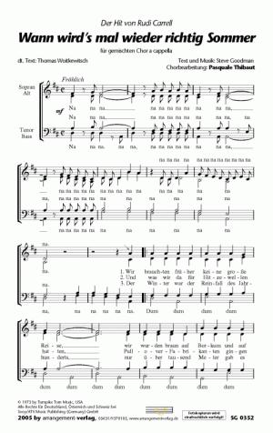 Chornoten: Wann wird's mal wieder richtig Sommer (vierstimmig)
