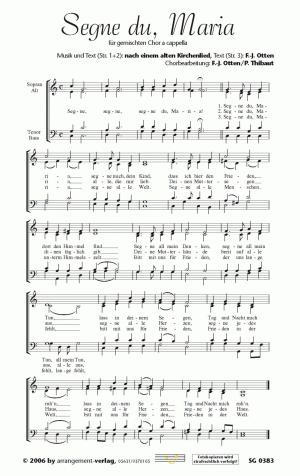 Chornoten: Segne du, Maria (vierstimmig)