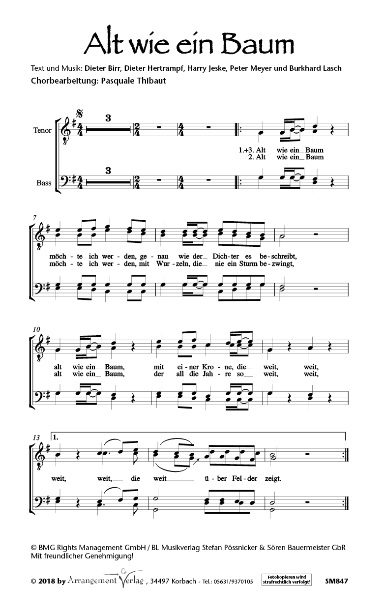Chornoten: Alt wie ein Baum (dreistimmig)