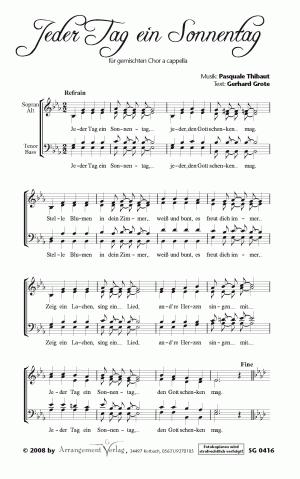 Chornoten: Jeder Tag ein Sonnentag (vierstimmig)