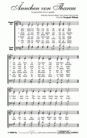 Chornoten: Ännchen von Tharau