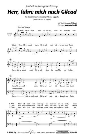 Chornoten: Herr, führe mich nach Gilead für gemischten Chor