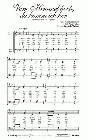 Chornoten: Vom Himmel hoch, da komm ich her (vierstimmig)