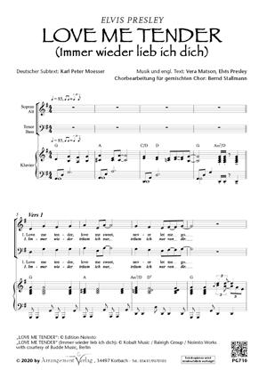 Chornoten: Love me tender (Immer wieder lieb ich dich) (vierstimmig)