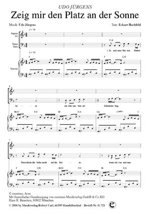 Chornoten: Zeig mir den Platz an der Sonne (vierstimmig)