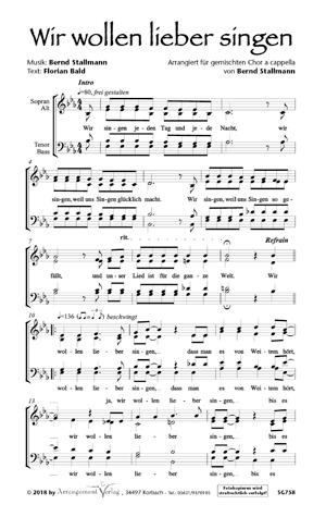 Chornoten: Wir wollen lieber singen! (vierstimmig)