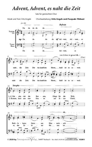 Chornoten: Advent, Advent, es naht die Zeit (vierstimmig)