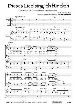Chornoten: Dieses Lied sing ich für dich