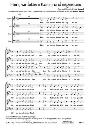 Chornoten: Herr, wir bitten: Komm und segne uns (vierstimmig)