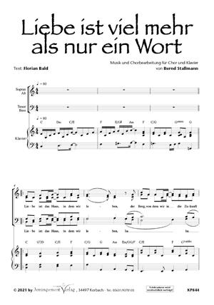 Chornoten: Liebe ist viel mehr als nur ein Wort (vierstimmig)