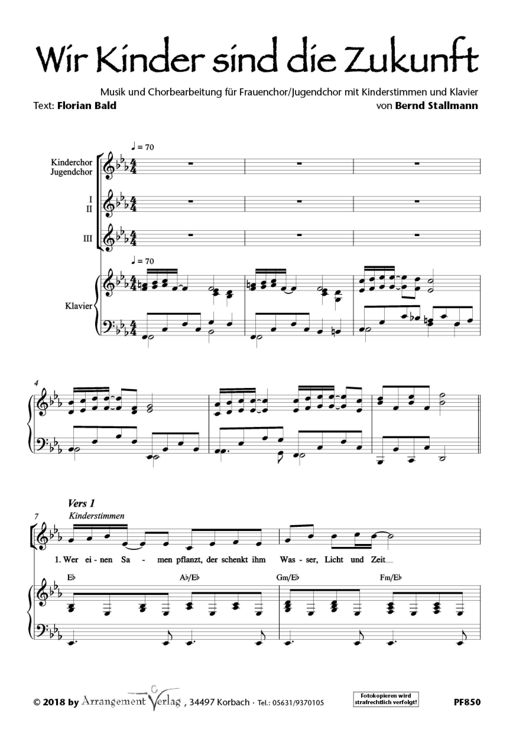 Chornoten: Wir Kinder sind die Zukunft (vierstimmig)