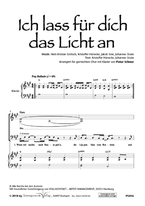 Chornoten: Ich lass für dich das Licht an (vierstimmig)