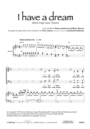 Chornoten: Mich trägt mein Traum (I Have A Dream) (vierstimmig)