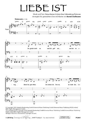 Chornoten: Liebe ist (Nena) (vierstimmig)