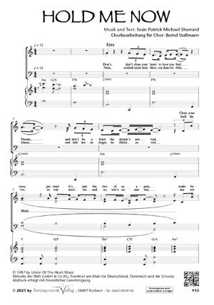 Chornoten: Hold me now (vierstimmig)