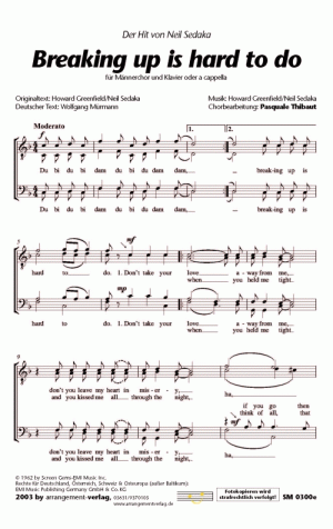 Chornoten: Breaking up is hard to do  für Männerchor