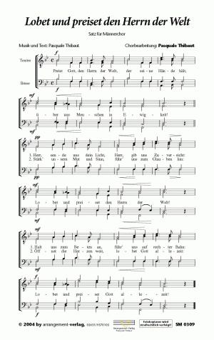 Chornoten: Lobet und preiset den Herrn der Welt für Männerchor