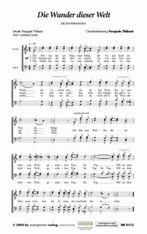 Chornoten: Die Wunder dieser Welt für Männerchor