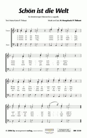 Chornoten: Schön ist die Welt (dreistimmig)