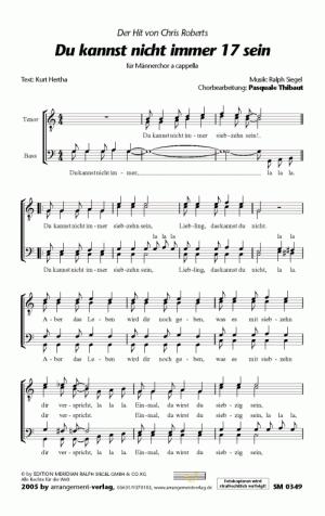 Chornoten: Du kannst nicht immer 17 sein für Männerchor