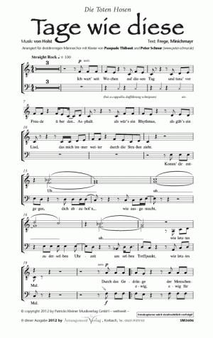 Chornoten: Tage wie diese (dreistimmig) für Männerchor