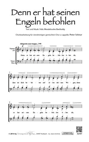 Chornoten: Denn er hat seinen Engeln befohlen für Männerchor