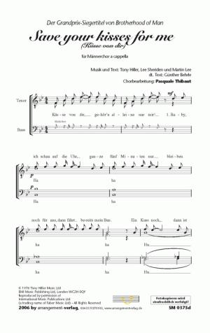 Chornoten: Die Küsse von dir für Männerchor