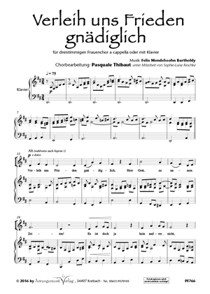 Chornoten: Verleih uns Frieden gnädiglich für Männerchor