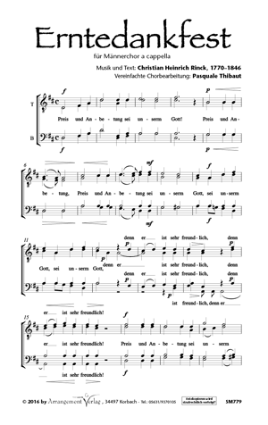 Chornoten: Erntedankfest für Männerchor